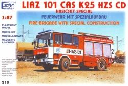 Liaz 101.860 CAS K25 hasičský automobil HZS ČD (stavebnice 1:87)